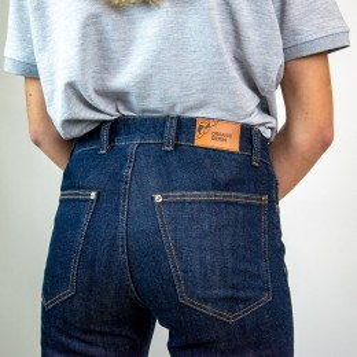 Jean de travail en coton bio avec genouillères bleu denim mixte