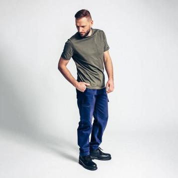 Pantalon de travail bleu marine, 100% coton biologique. Pro et looké.