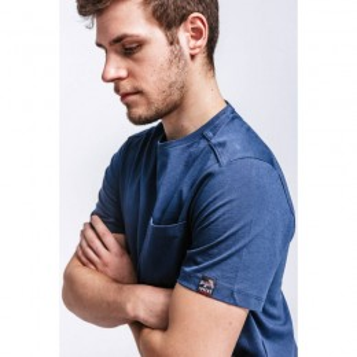 T-shirt de travail bleu marine manches courtes en coton bio avec poche poitrine Dunas