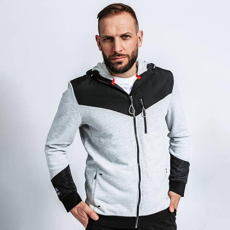 Veste à capuche zippée en coton biologique gris chiné