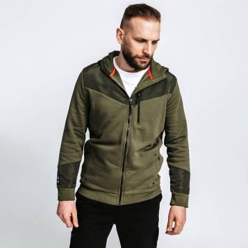 Veste à capuche zippée en coton biologique vert armée