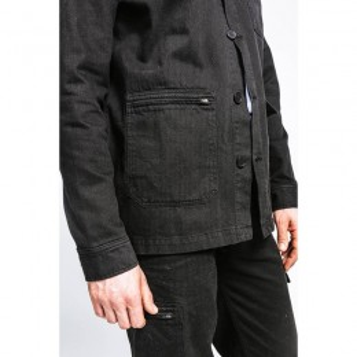 Veste de travail noir vintage en coton biologique